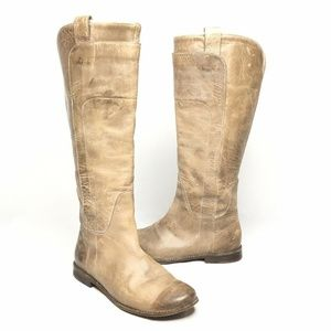 Frye Paige Riding Boot Leather Tan Pull On 9